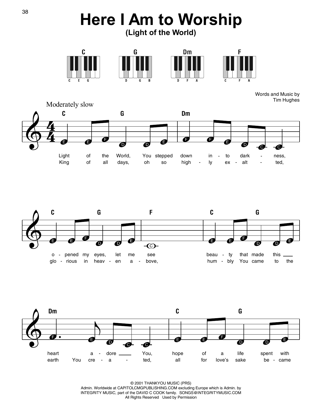 Here I Am To Worship (Light Of The World) Sheet Music