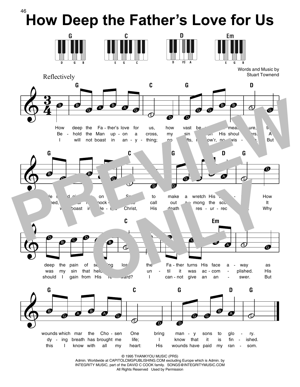 How Deep The Father's Love For Us (Super Easy Piano)