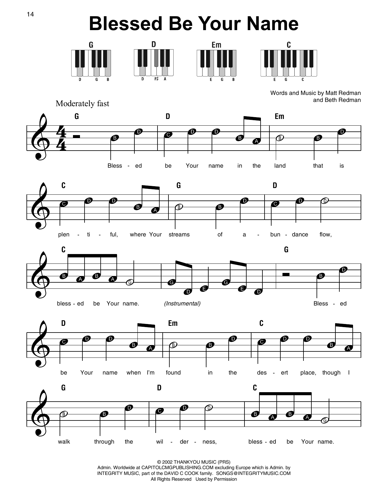 Blessed Be Your Name (Super Easy Piano)
