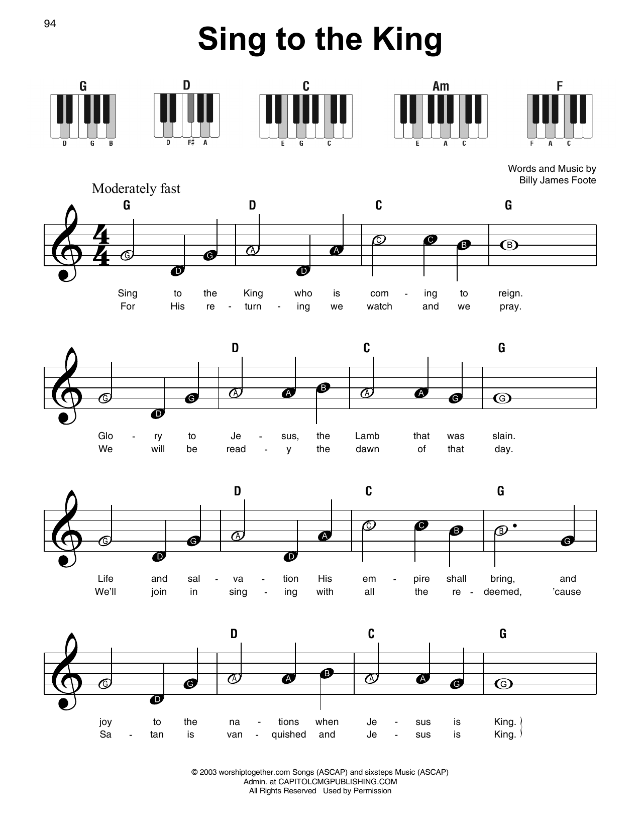 Sing To The King (Super Easy Piano)