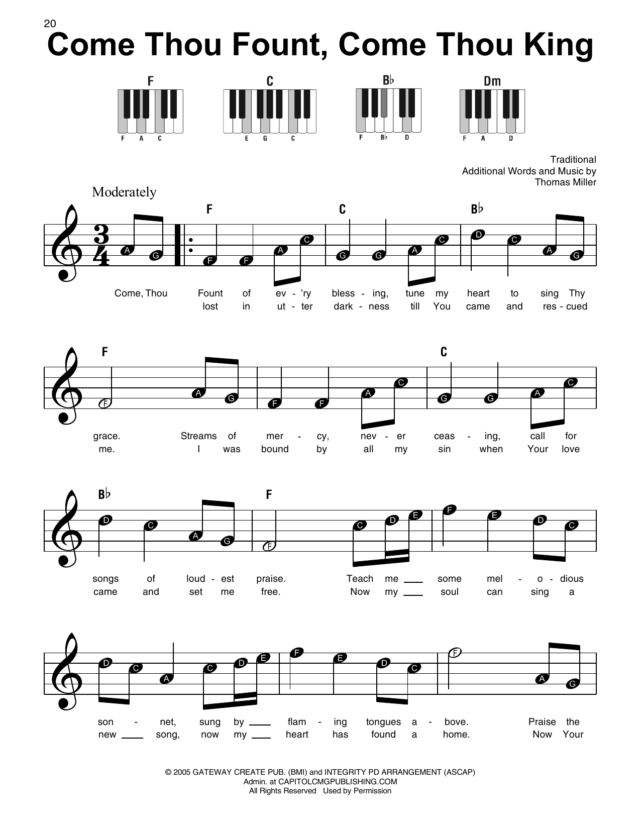 Come Thou Fount, Come Thou King (Super Easy Piano)