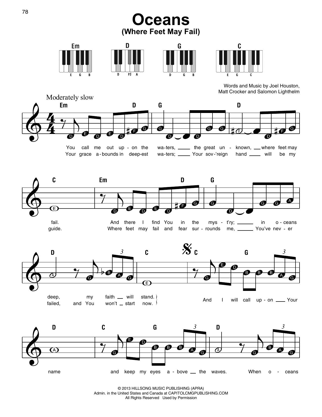 Oceans Where Feet May Fail Sheet Music   Hillsong United   Super Easy  Piano