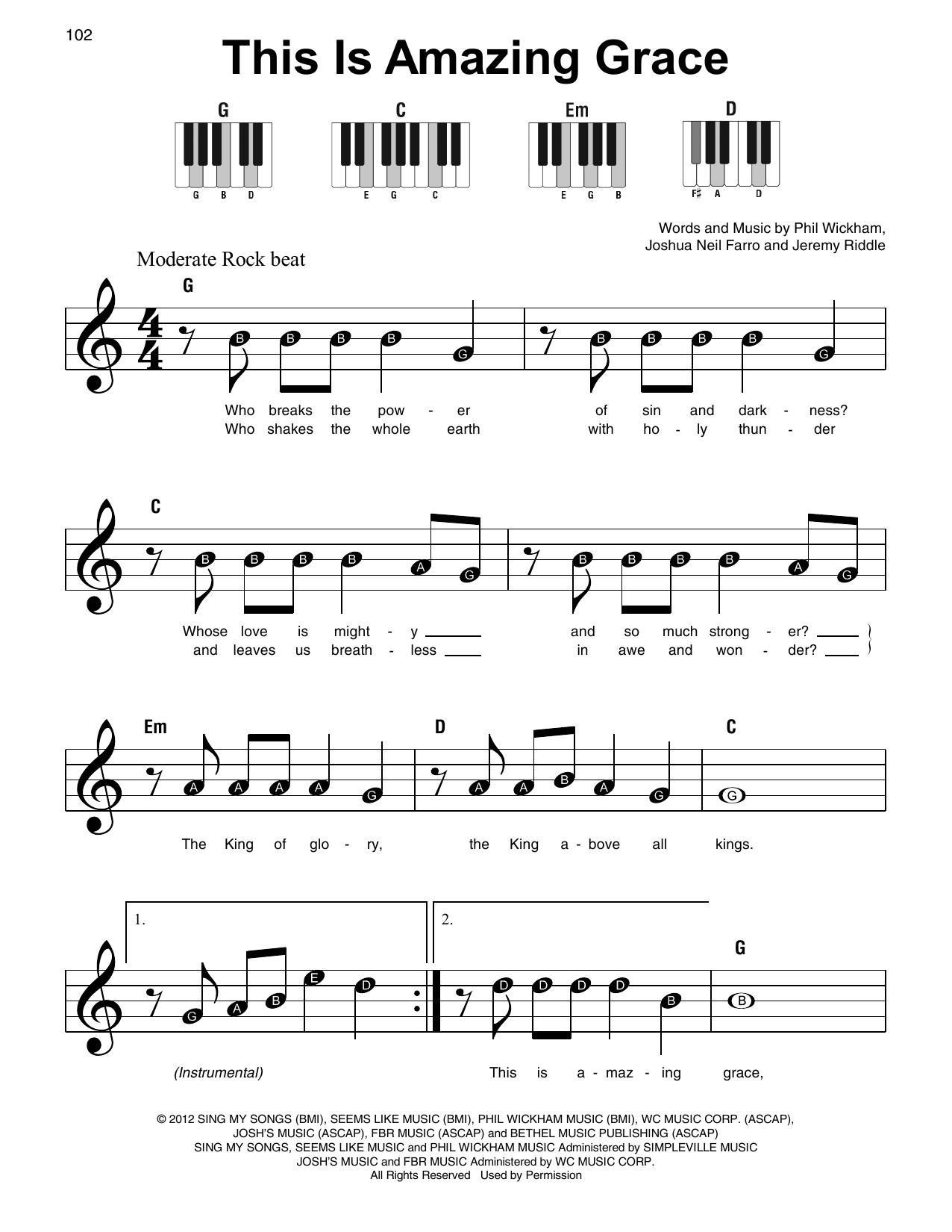 This Is Amazing Grace Noten   Phil Wickham   Klavier, sehr leicht Super  Easy