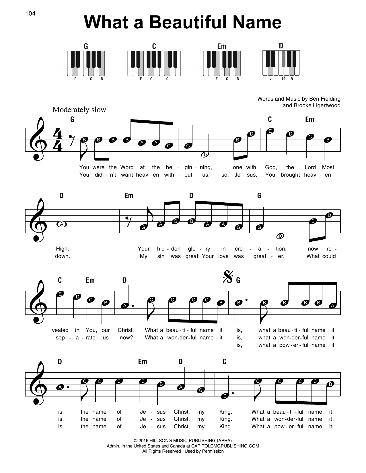 What A Beautiful Name Sheet Music