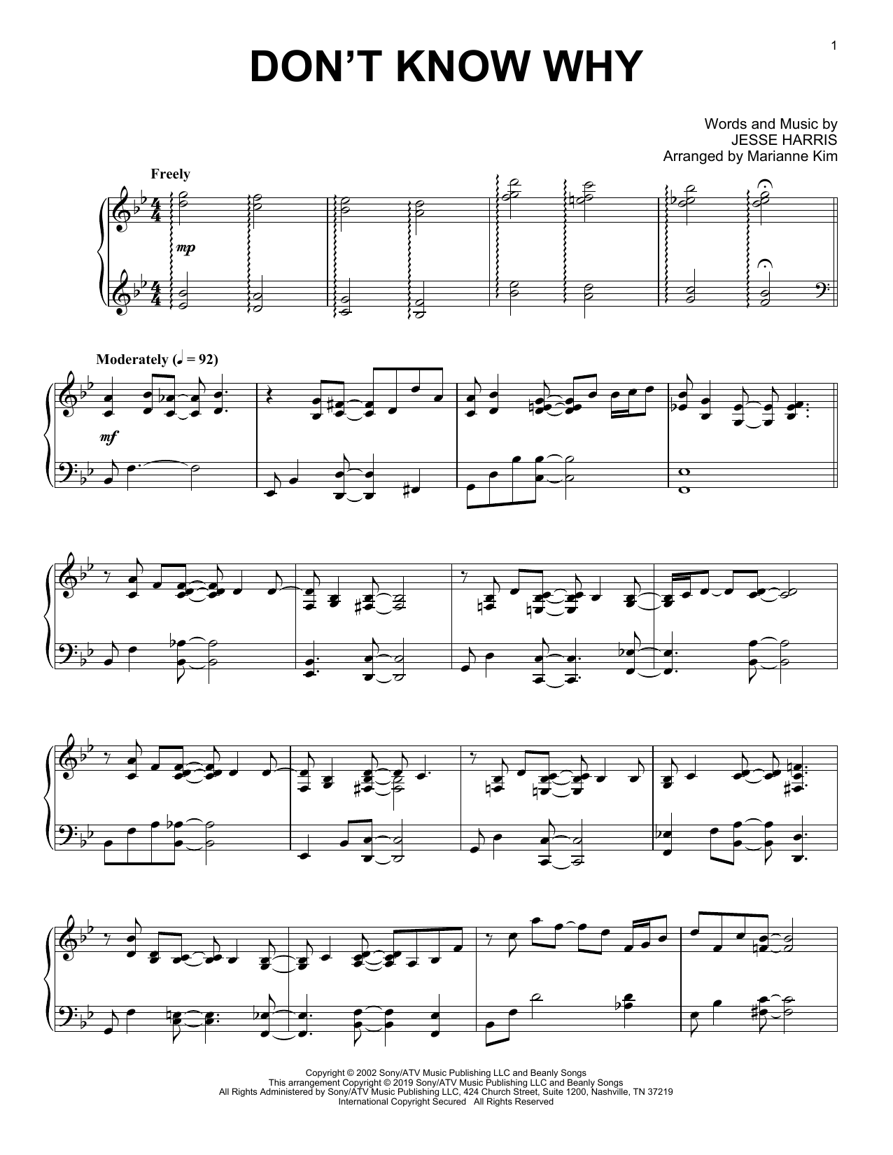 Don't Know Why (arr. Marianne Kim) (Piano Solo)