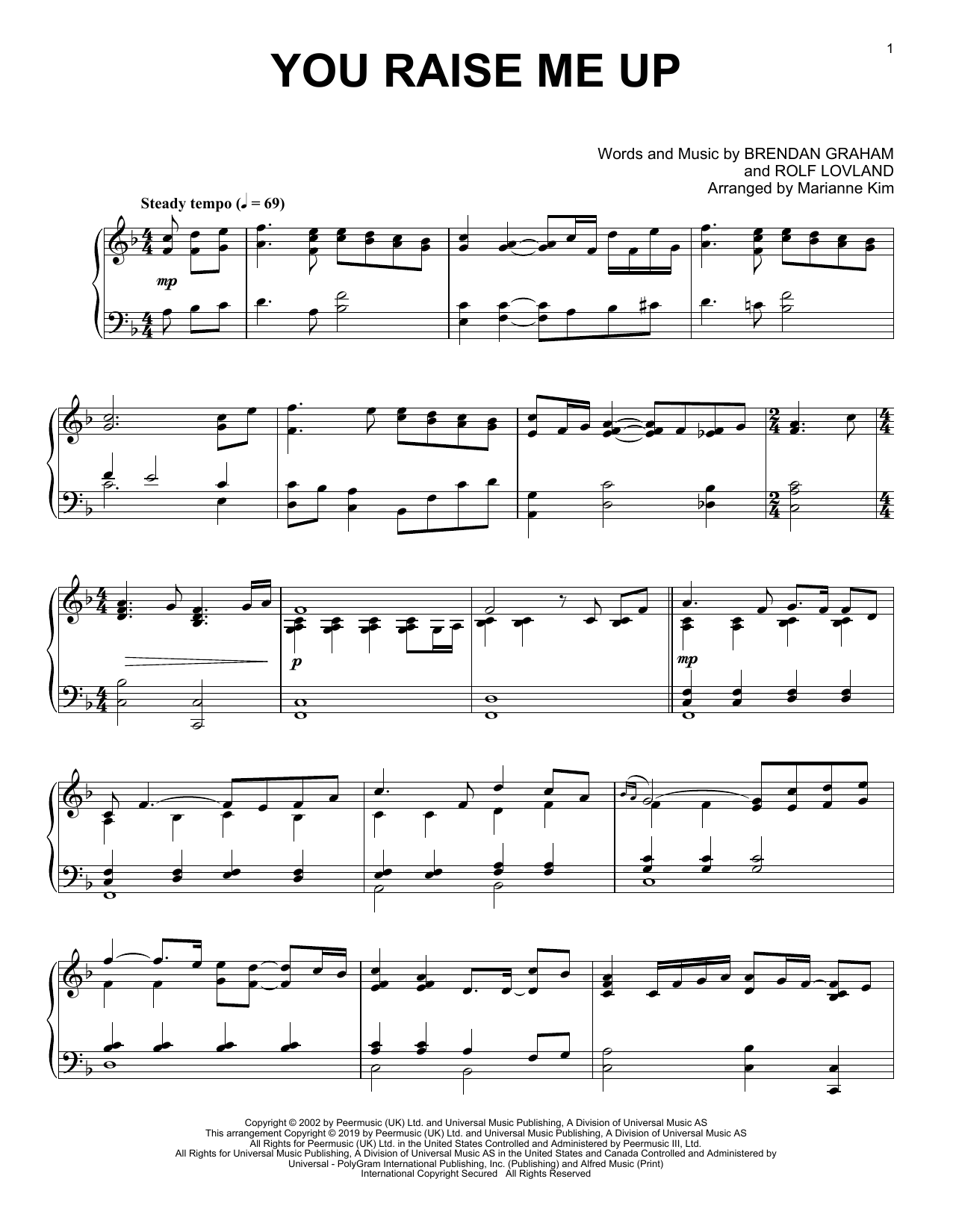 You Raise Me Up (arr. Marianne Kim) (Piano Solo)