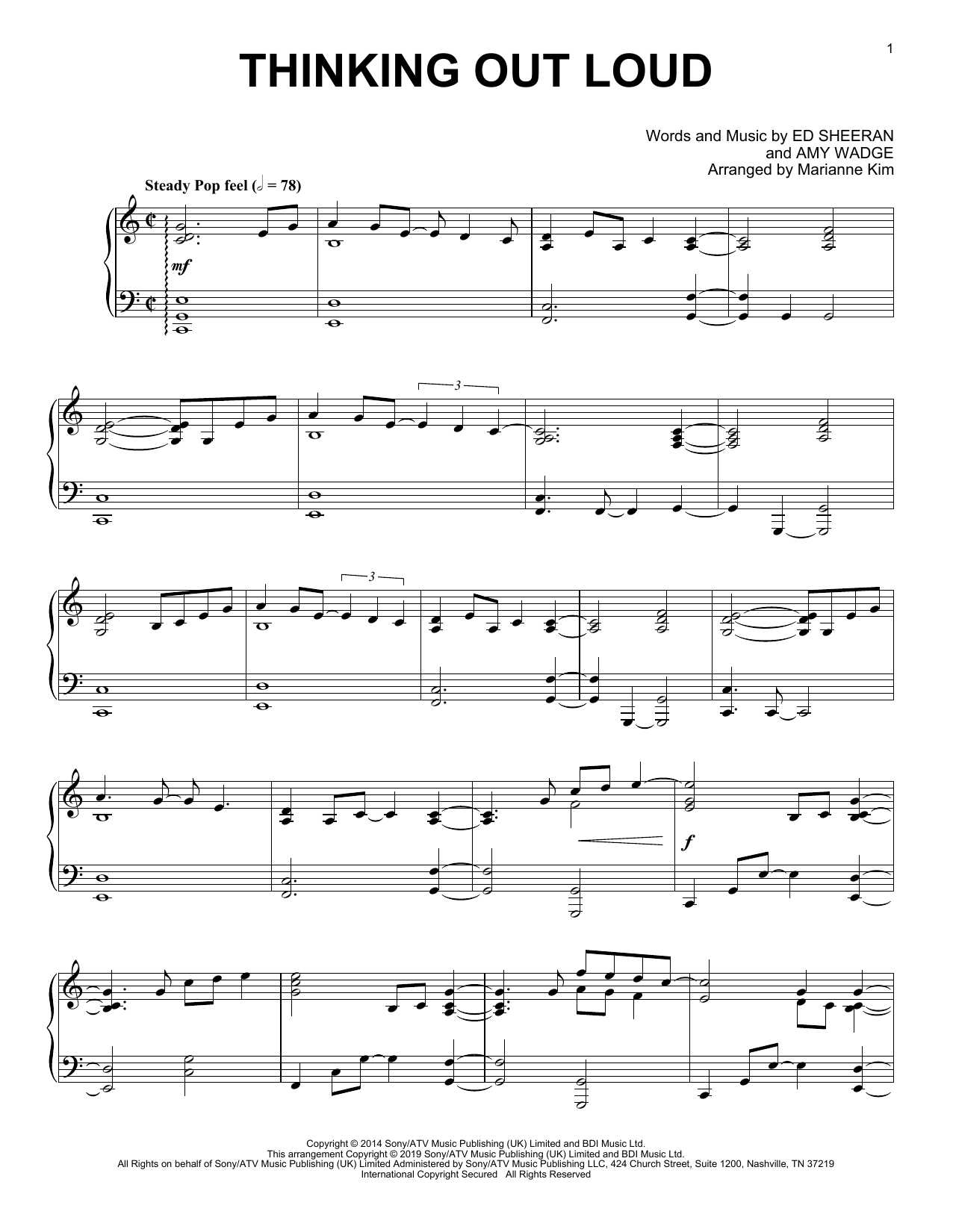 Thinking Out Loud (arr. Marianne Kim) (Piano Solo)
