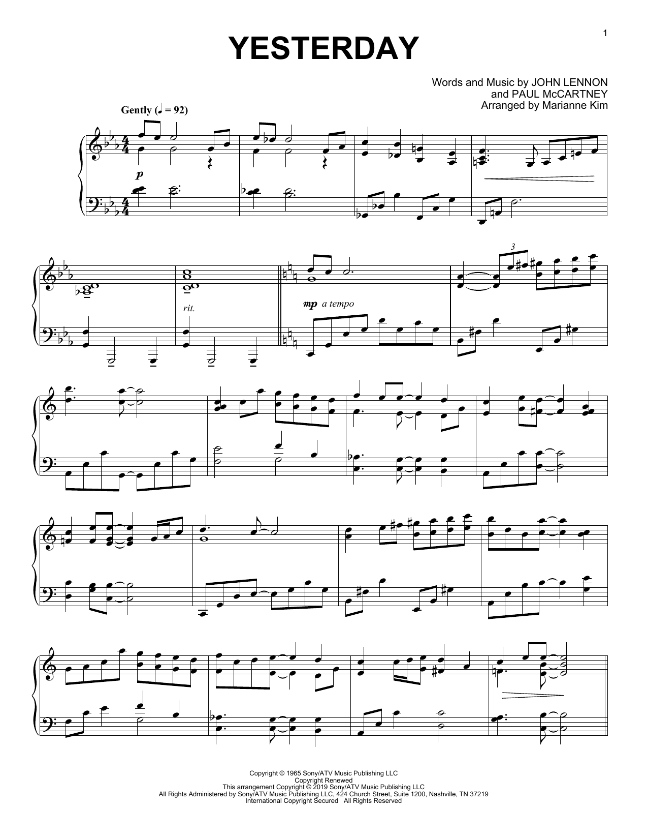 Yesterday (arr. Marianne Kim) (Piano Solo)