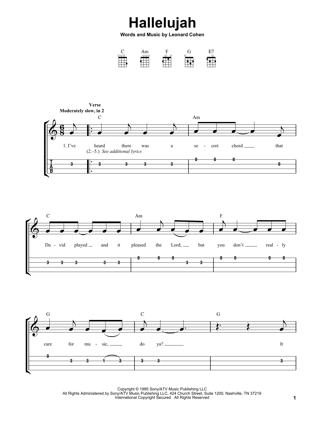 Hallelujah by Leonard Cohen   Easy Ukulele with Tab   Guitar ...