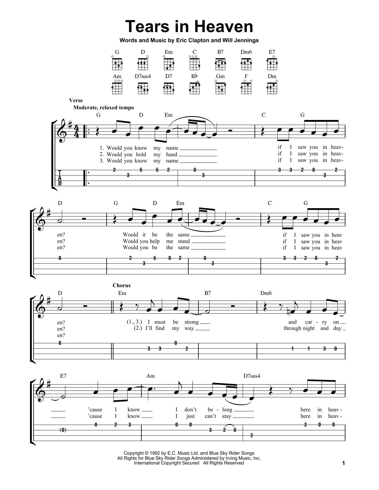 Tears In Heaven (Easy Ukulele Tab)