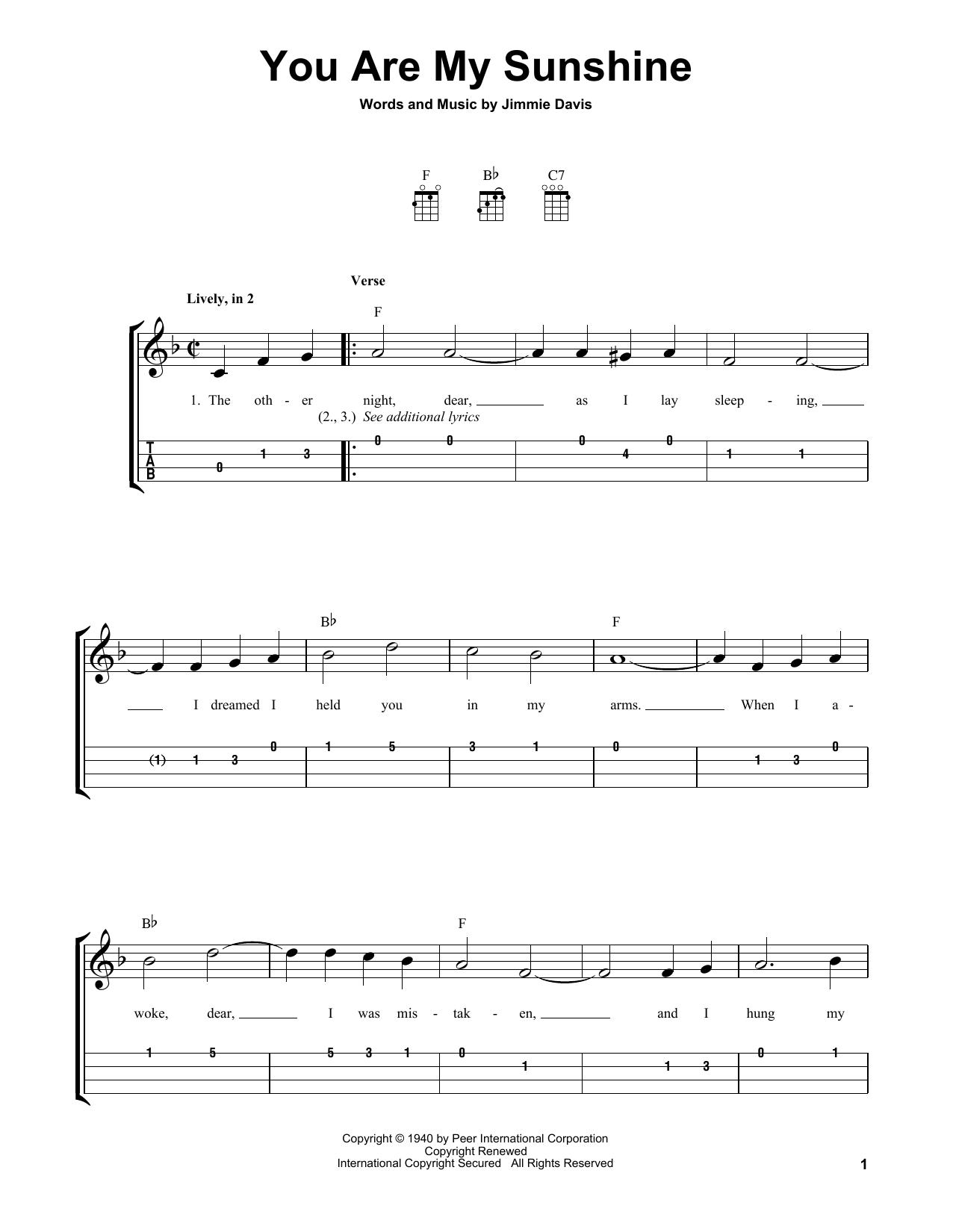 You Are My Sunshine Easy Ukulele Tab   Print Sheet Music Now