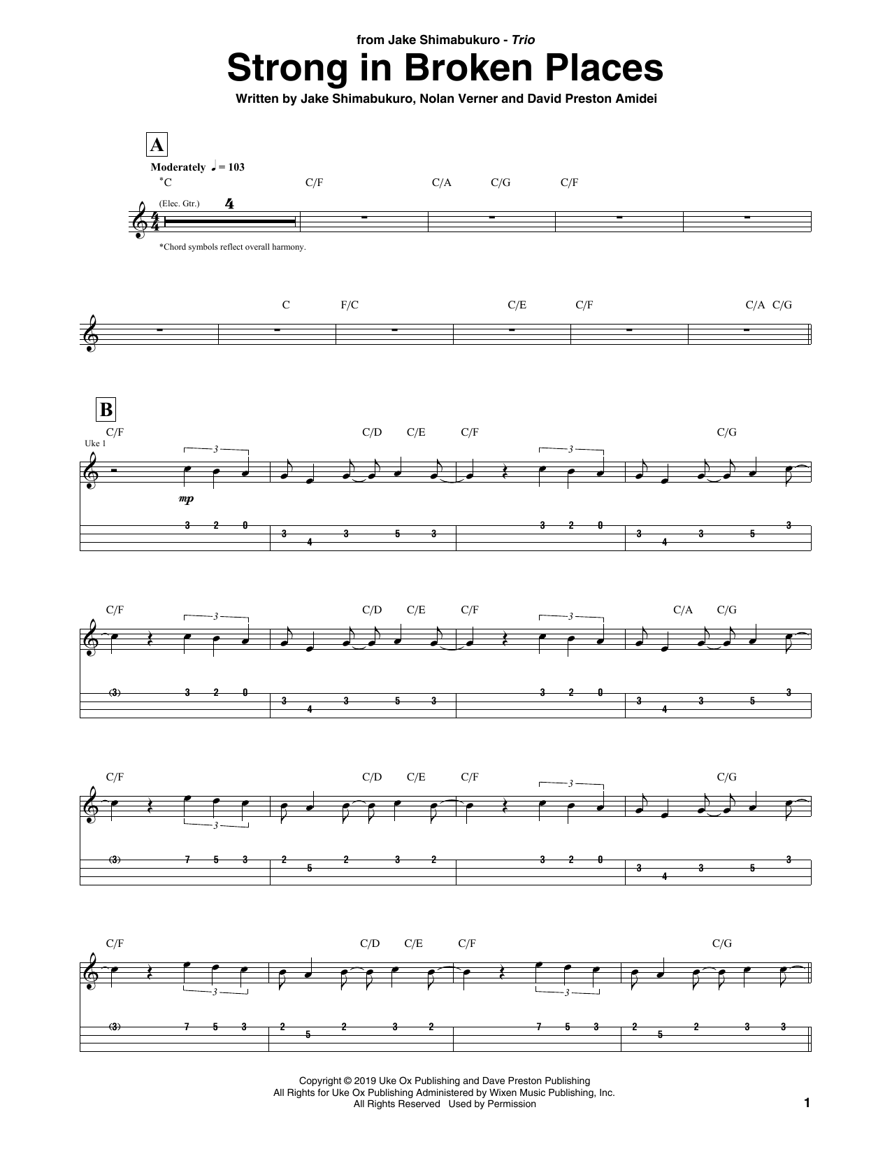 Strong In Broken Places (Ukulele Tab)