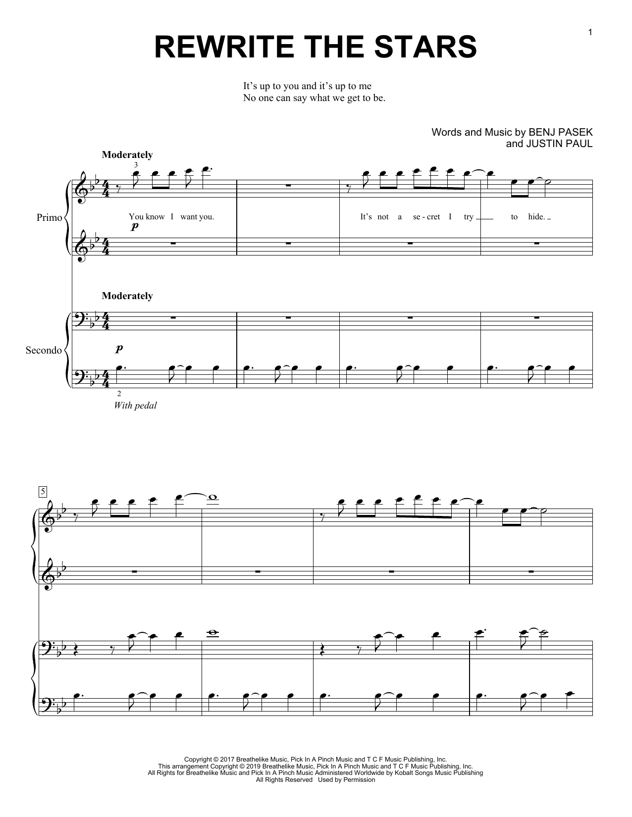 Rewrite The Stars (from The Greatest Showman) Sheet Music