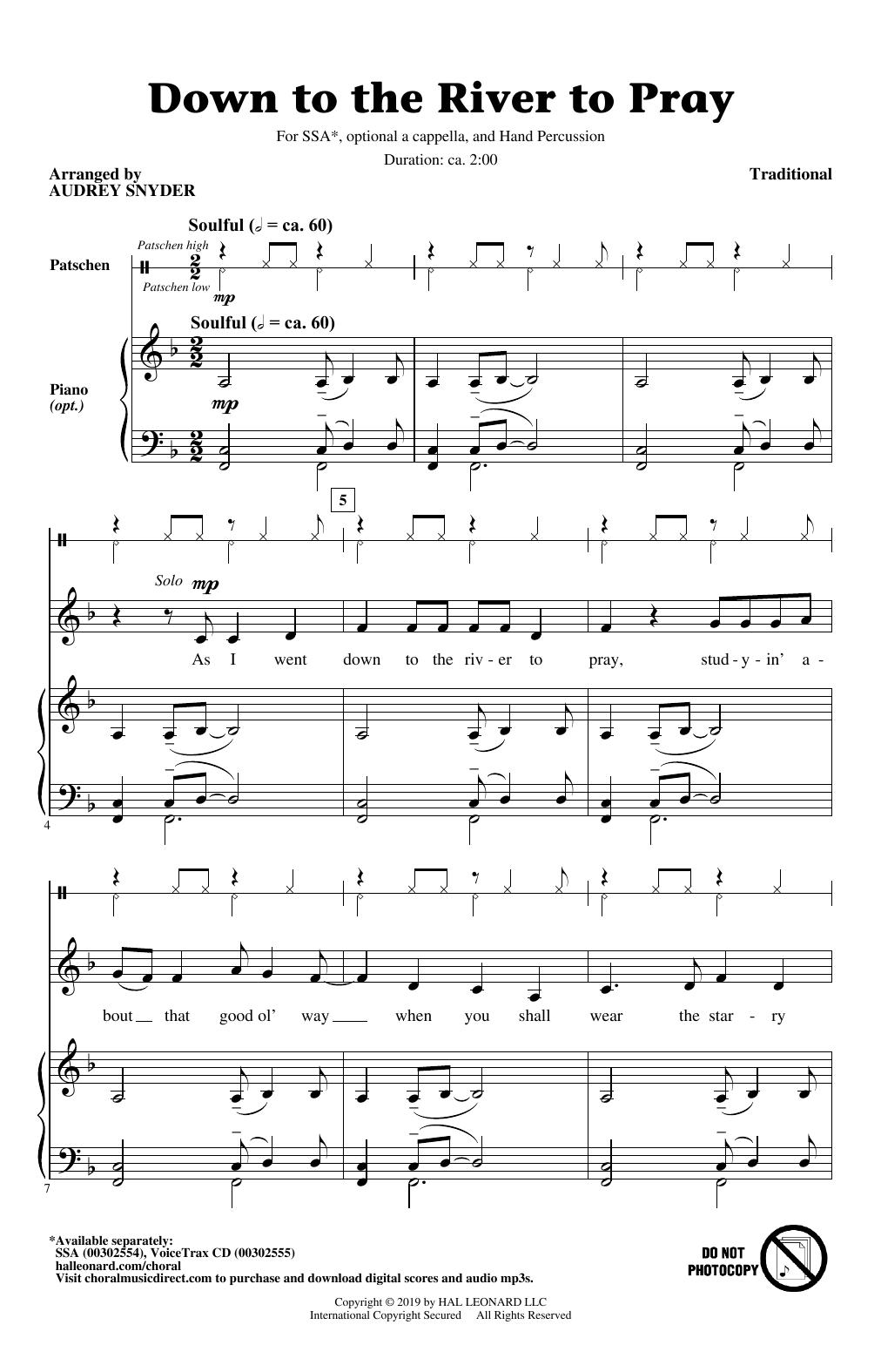 Partition chorale Down To The River To Pray (arr. Audrey Snyder) de Traditional - SSA
