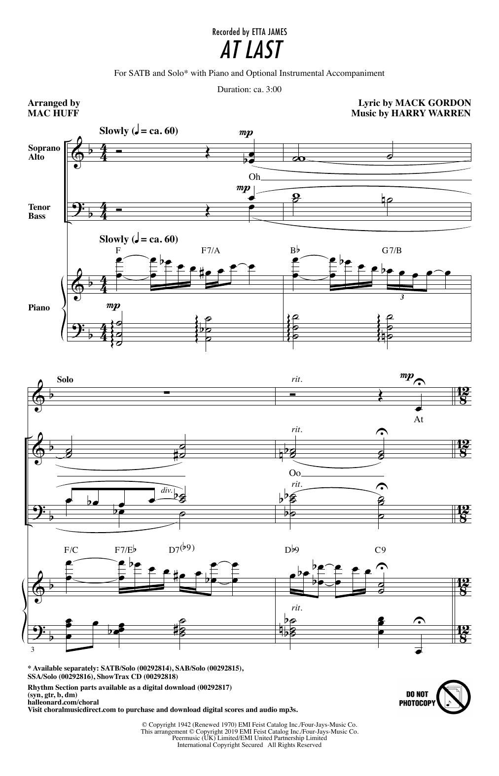 At Last (arr. Mac Huff) (SATB Choir)