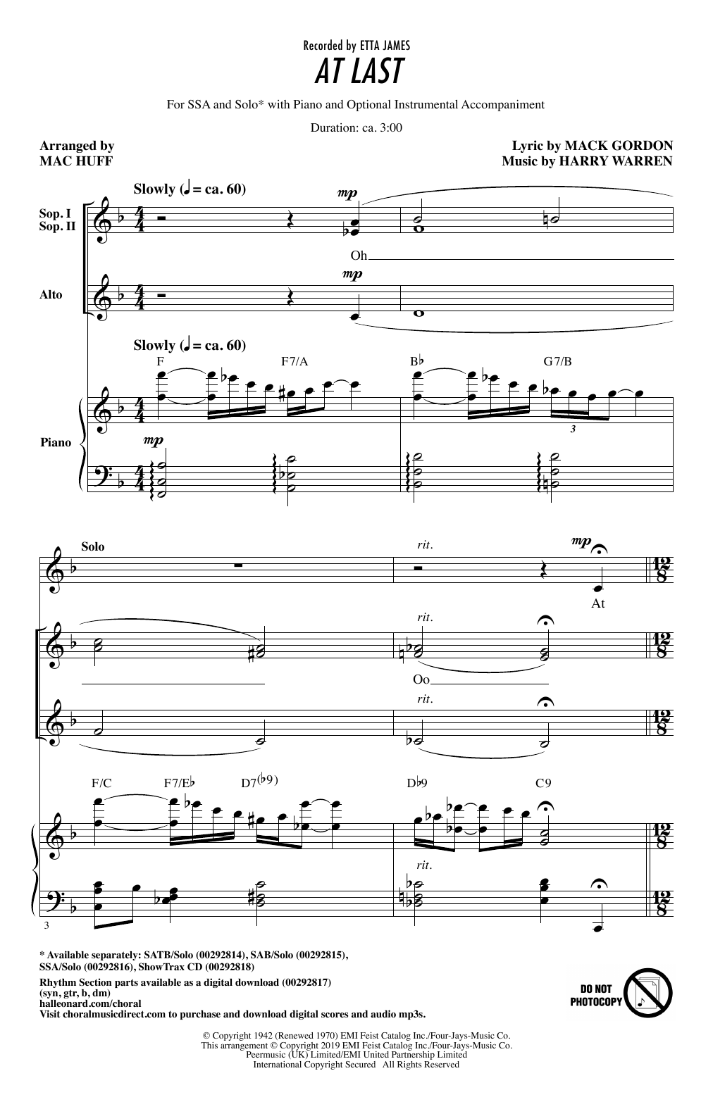 At Last (arr. Mac Huff) (SSA Choir)