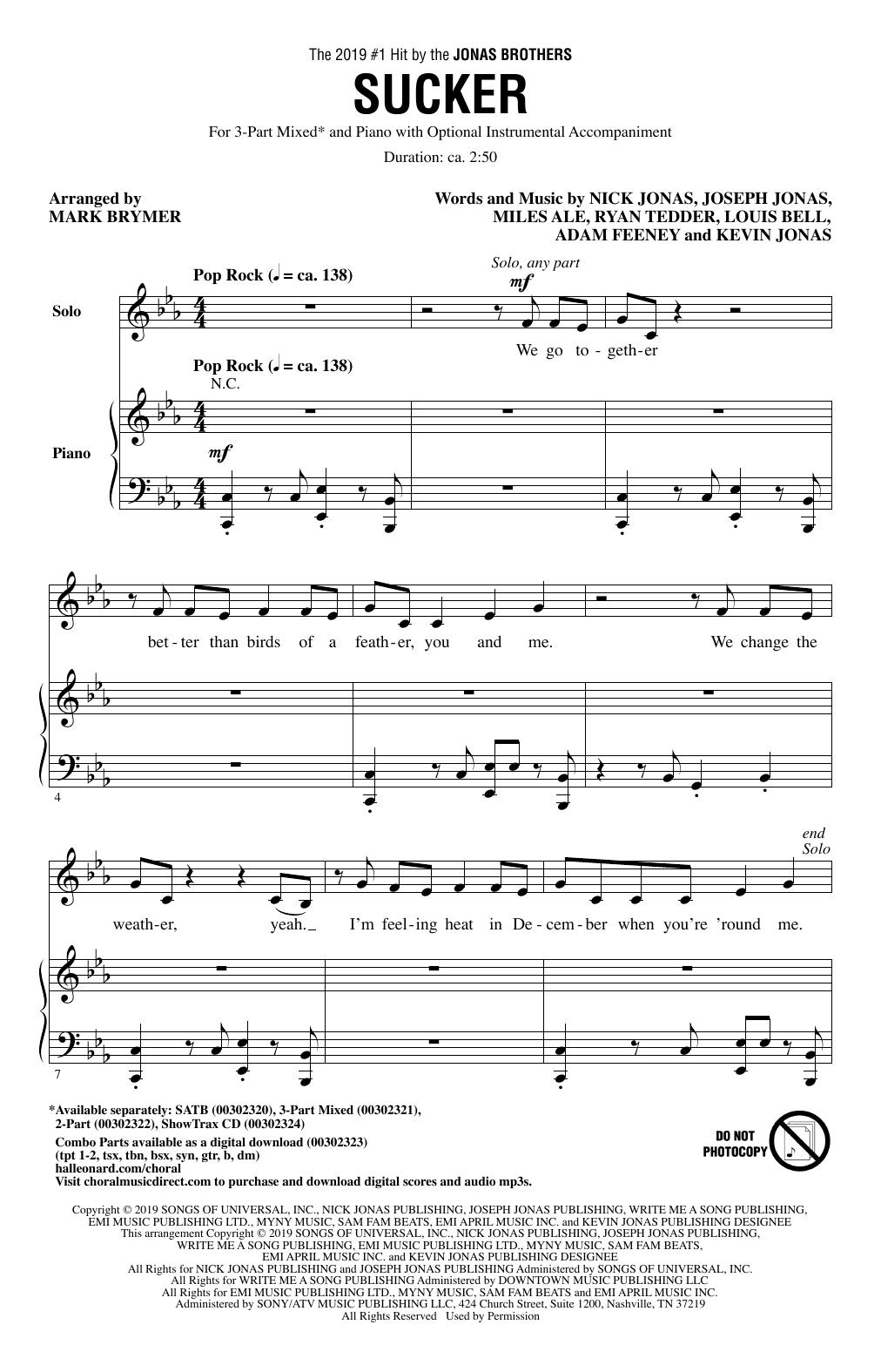Partition chorale Sucker (arr. Mark Brymer) de Jonas Brothers - 3 voix mixtes
