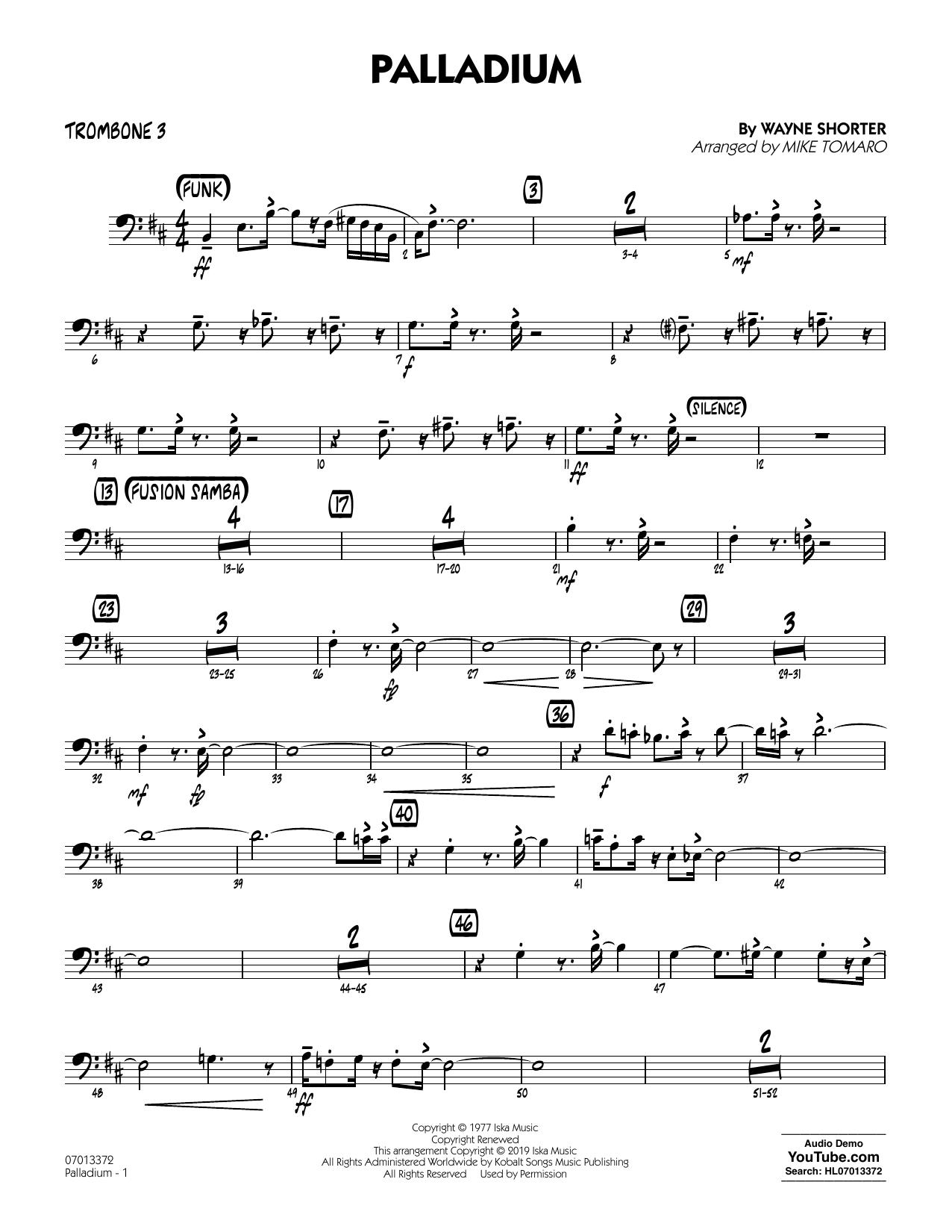 Palladium (arr. Mike Tomaro) - Trombone 3 Sheet Music