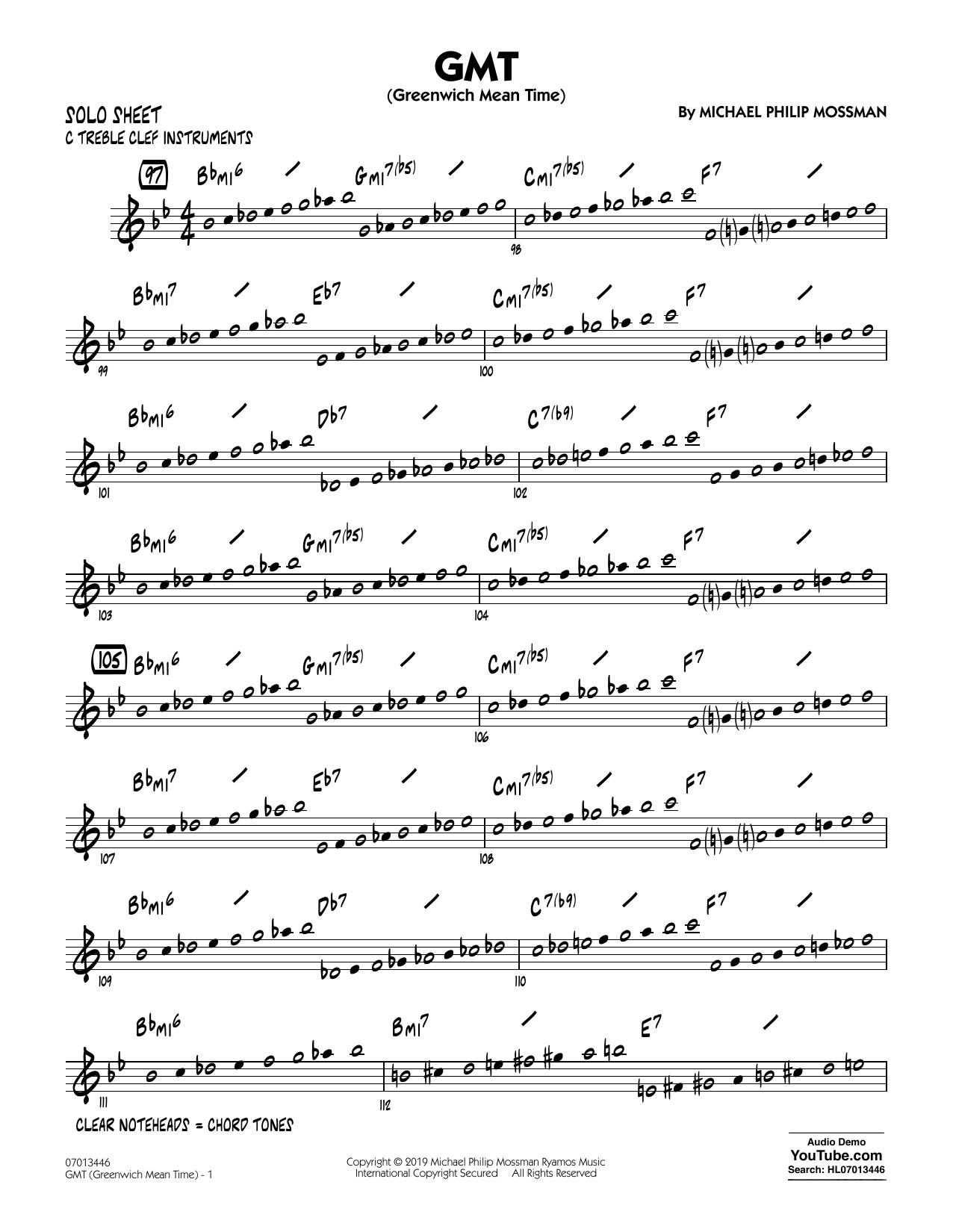 GMT (Greenwich Mean Time) - C Solo Sheet (Jazz Ensemble)