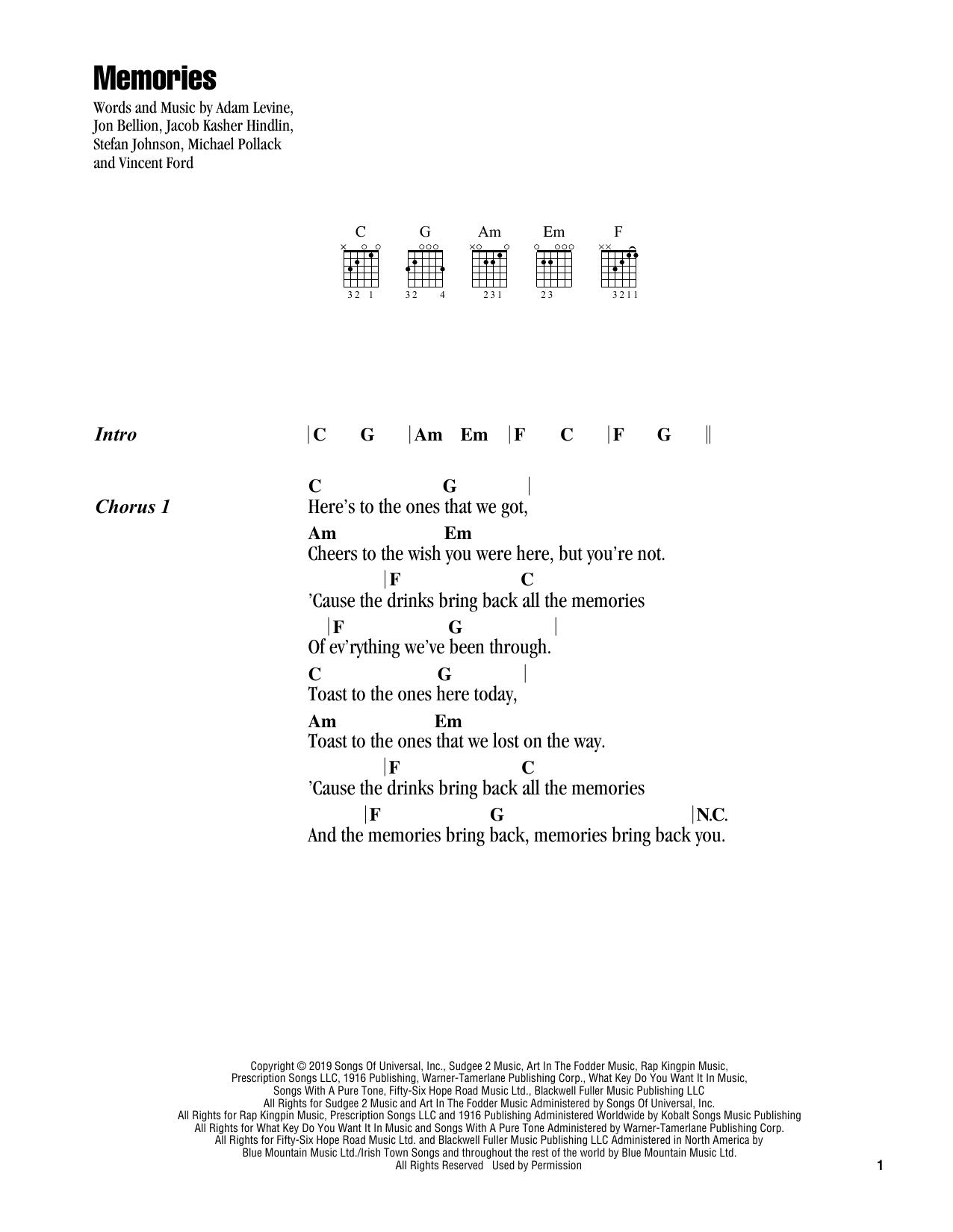 Memories Sheet Music Maroon 5 Guitar Chords Lyrics