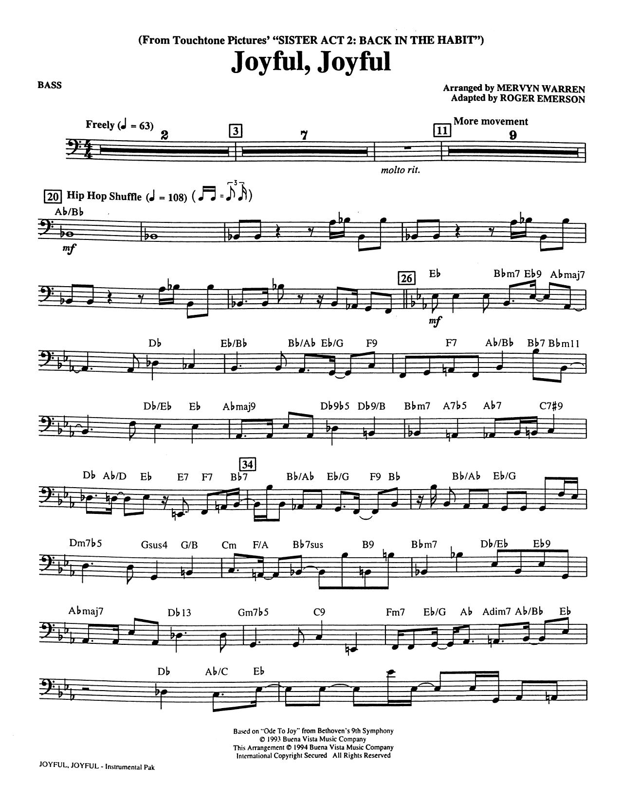 Joyful, Joyful (from Sister Act 2) (arr. Roger Emerson) - Acoustic Bass Sheet Music