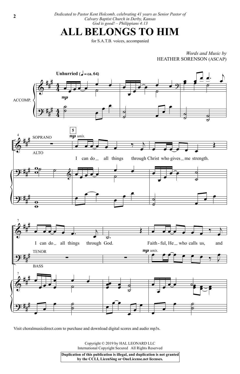 All Belongs To Him (SATB Choir)