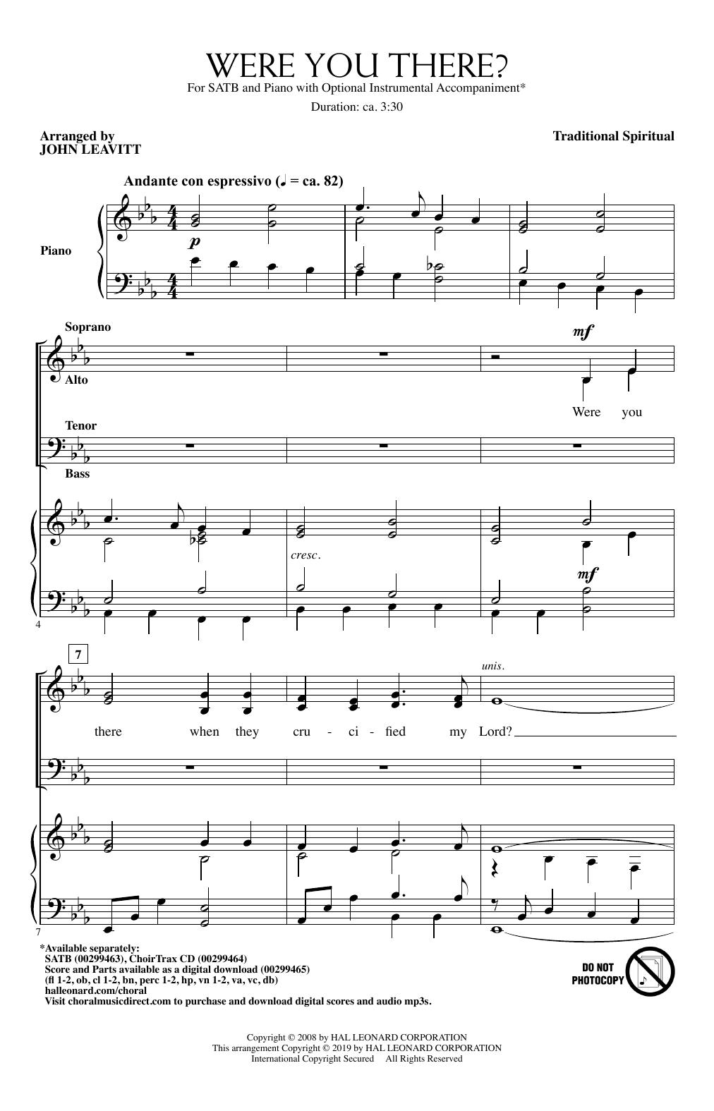 Were You There? (arr. John Leavitt) Sheet Music