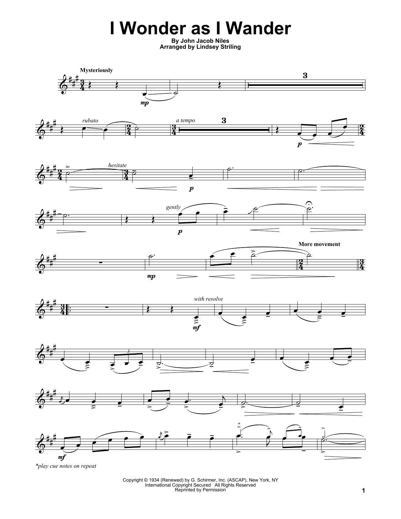 I Wonder As I Wander (Violin Solo)
