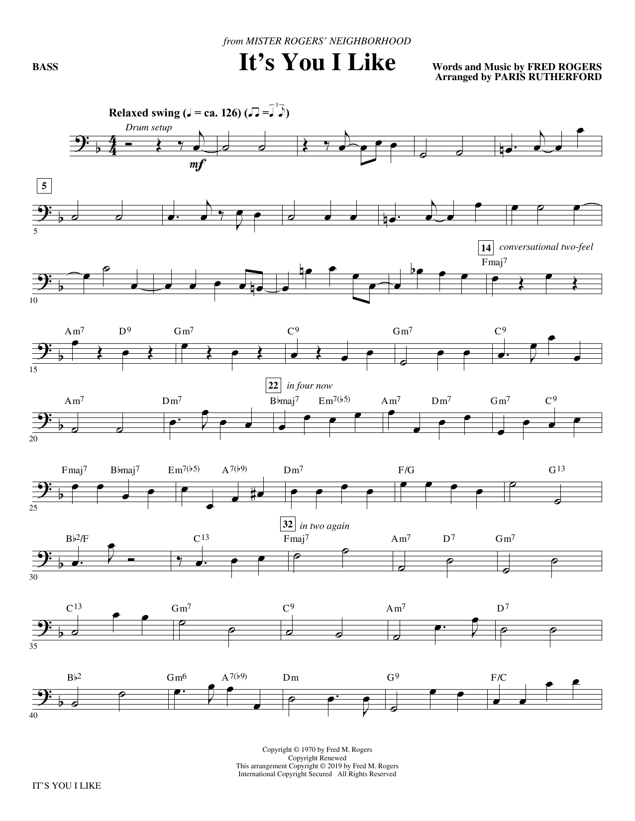 It S You I Like From Mister Rogers Neighborhood Arr Paris Rutherford Bass Sheet Music Fred Rogers Choir Instrumental Pak