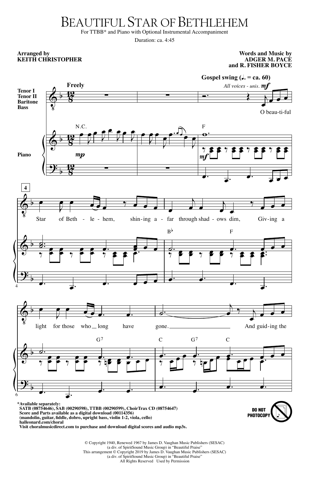 Beautiful Star Of Bethlehem (arr. Keith Christopher) (TTBB Choir)