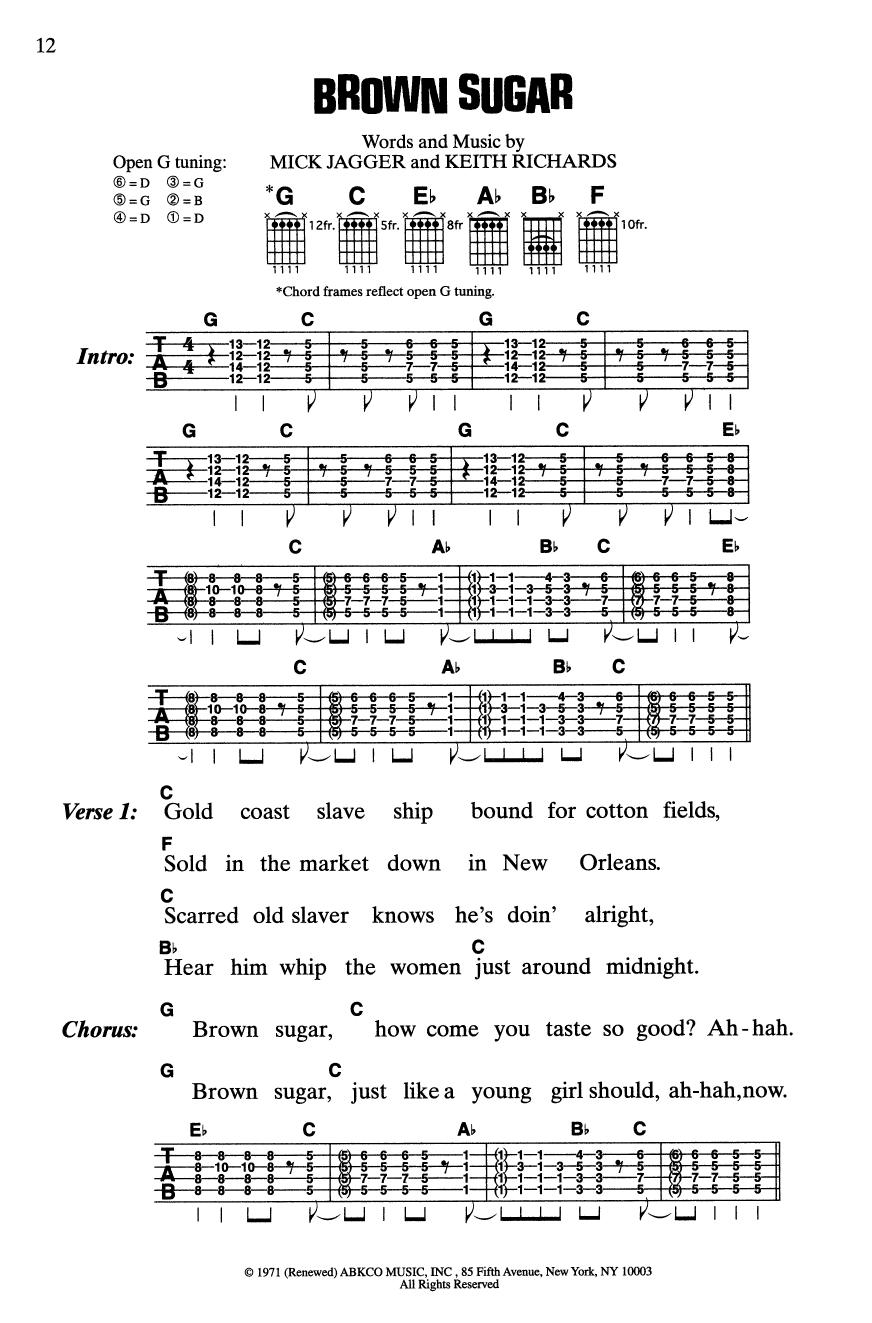 Brown Sugar (Guitar Chords/Lyrics)