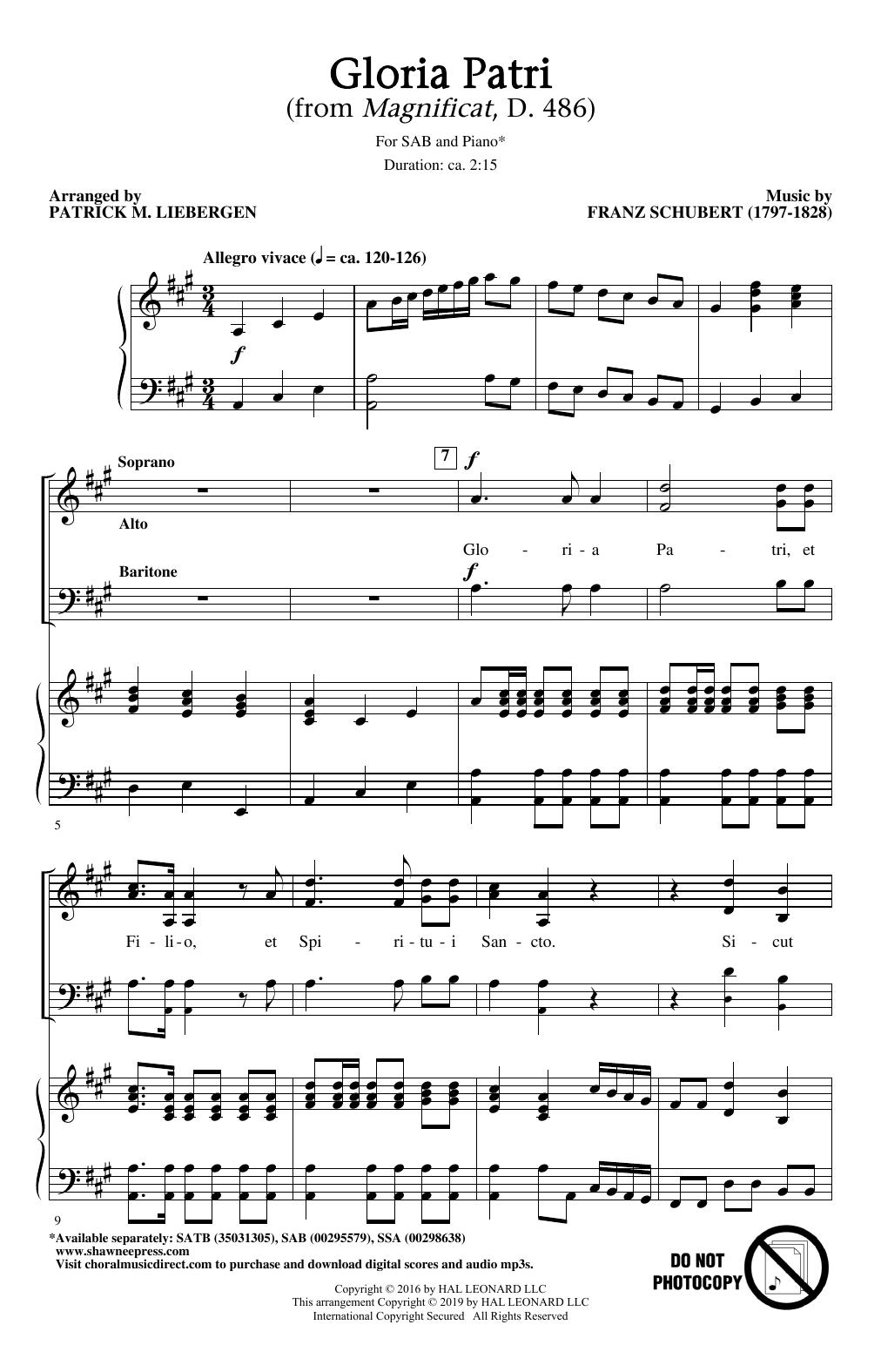 Gloria Patri (from Magnificat, D. 486) (arr. Patrick M. Liebergen) Partition Digitale