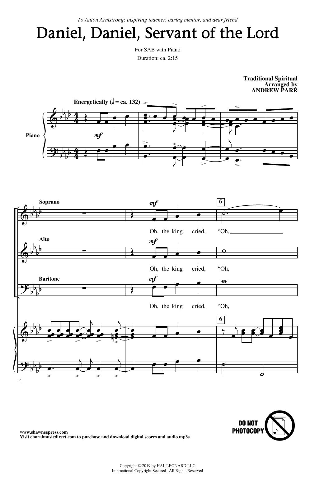 Daniel, Daniel, Servant Of The Lord (arr. Andrew Parr) (SAB Choir)