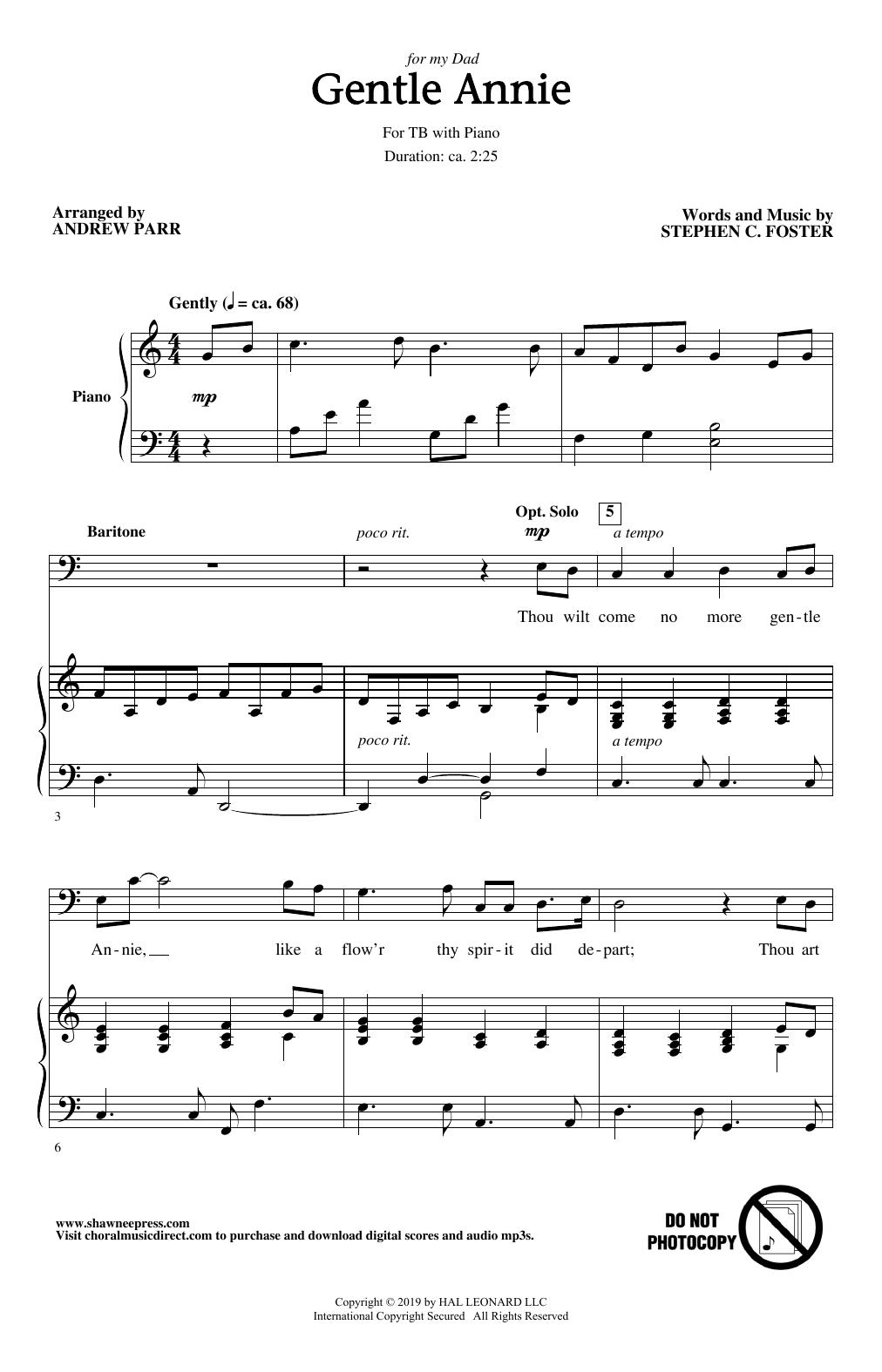 Gentle Annie (arr. Andrew Parr) (TB Choir)