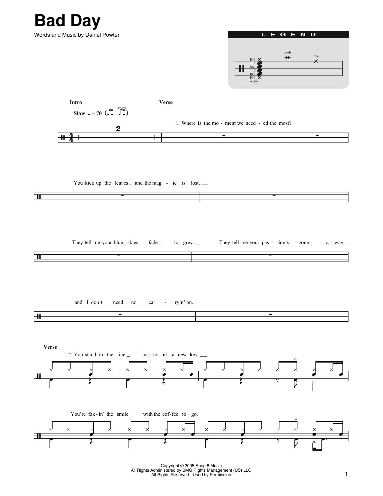 Bad Day Sheet Music Daniel Powter Drums Transcription