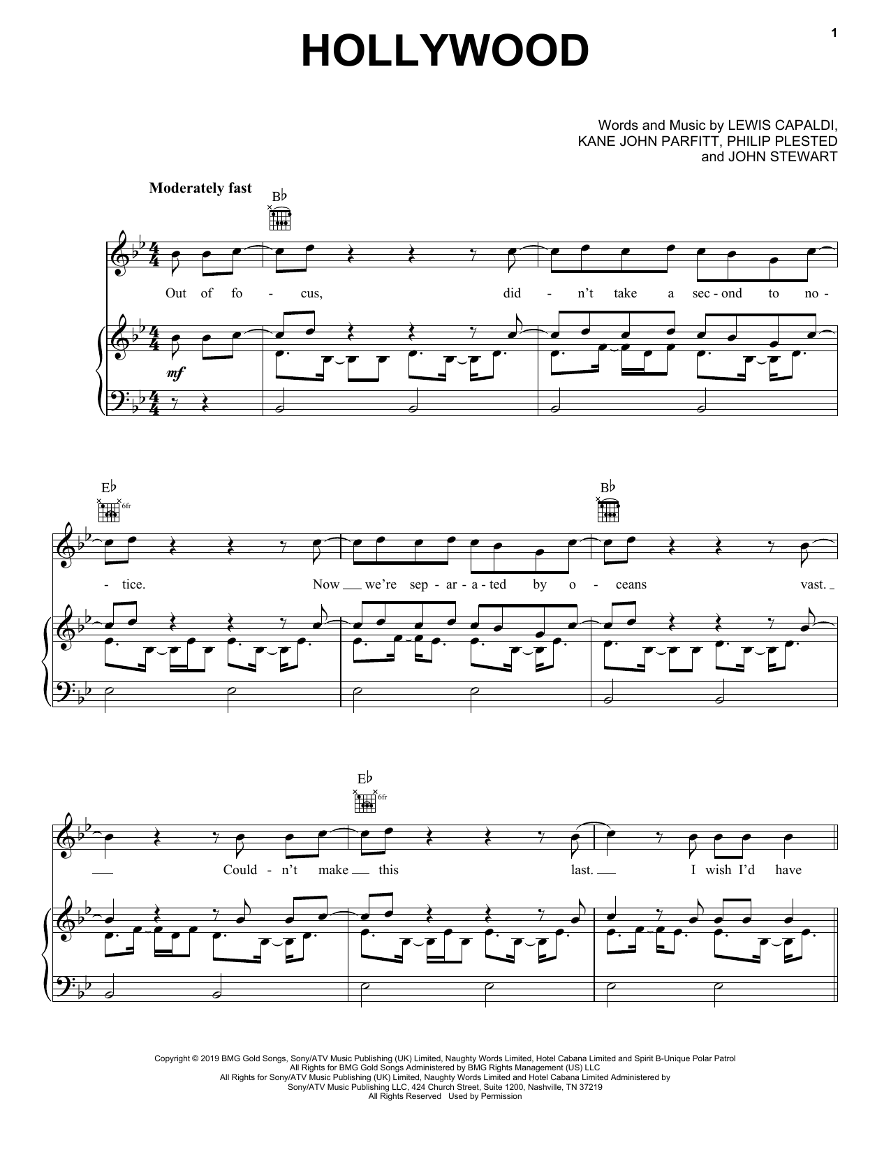 Hollywood (Piano, Vocal & Guitar (Right-Hand Melody))