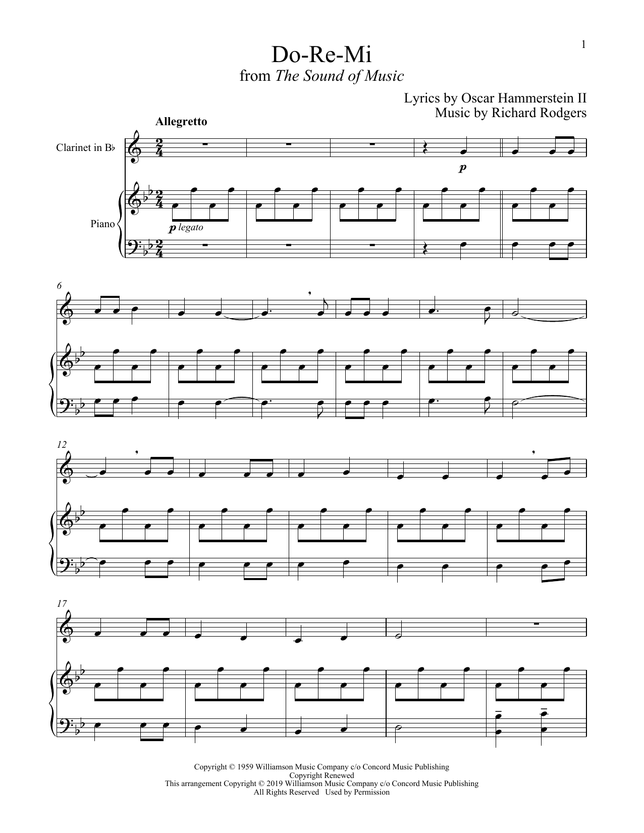 Do-Re-Mi (from The Sound of Music) (Clarinet and Piano)