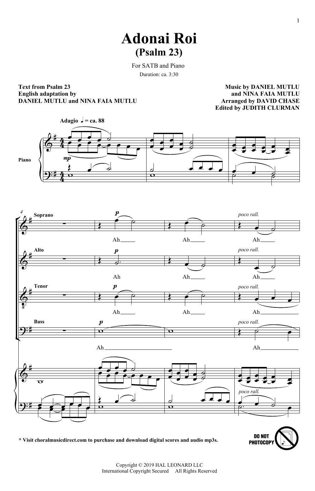 Adonai Roi (Psalm 23) (Rejoice: Honoring the Jewish Spirit) (arr. David Chase) (SATB Choir)