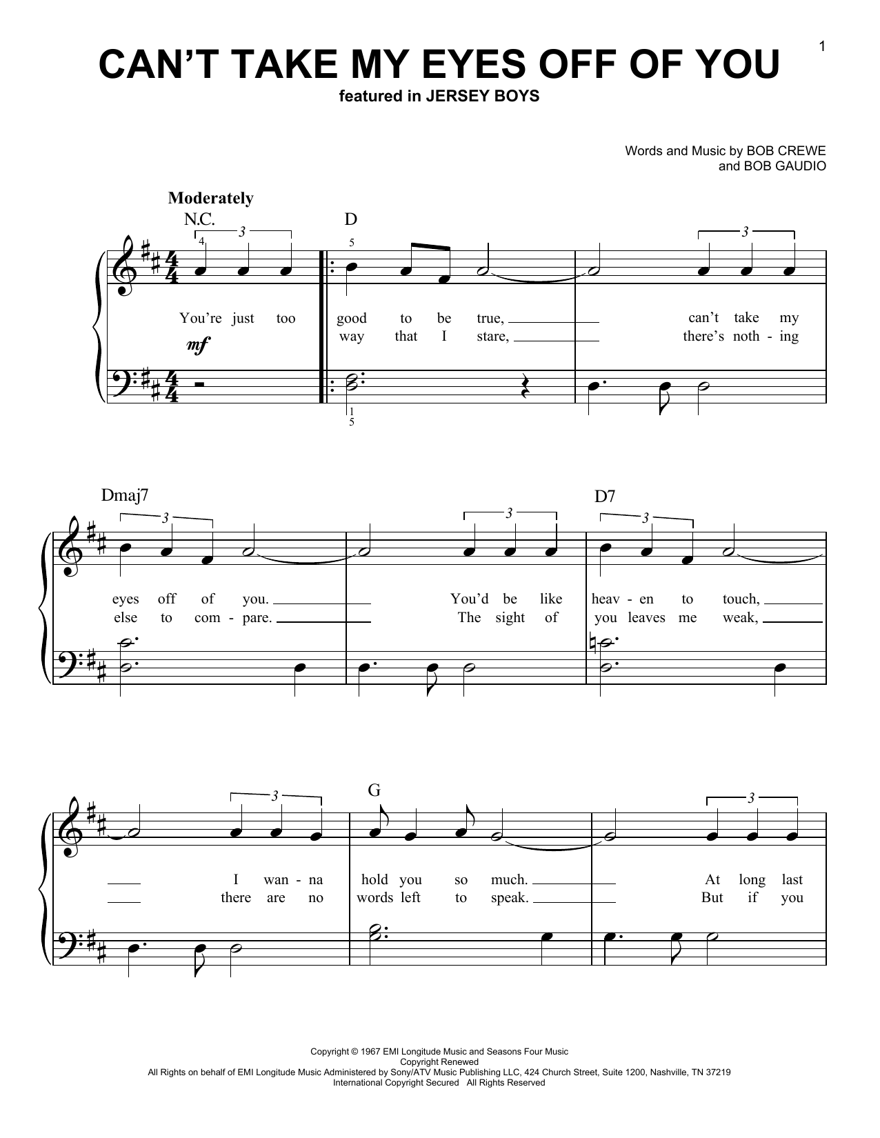Can't Take My Eyes Off Of You (from Jersey Boys) (Very Easy Piano)