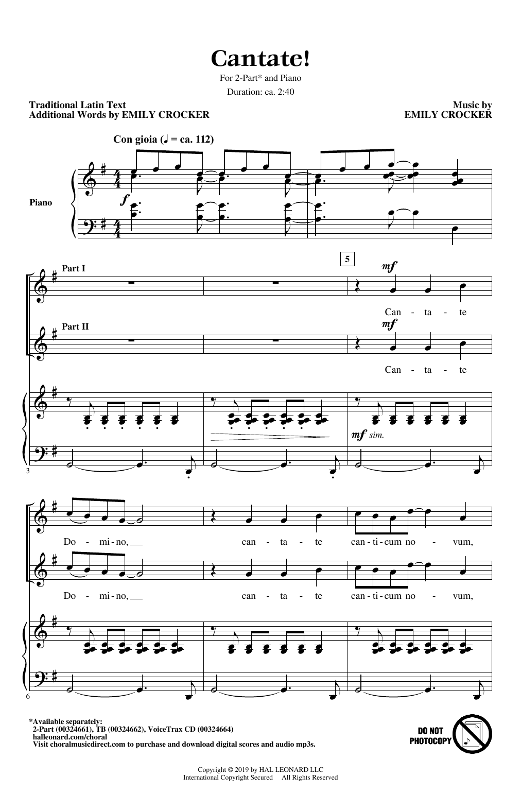 Cantate! (2-Part Choir)