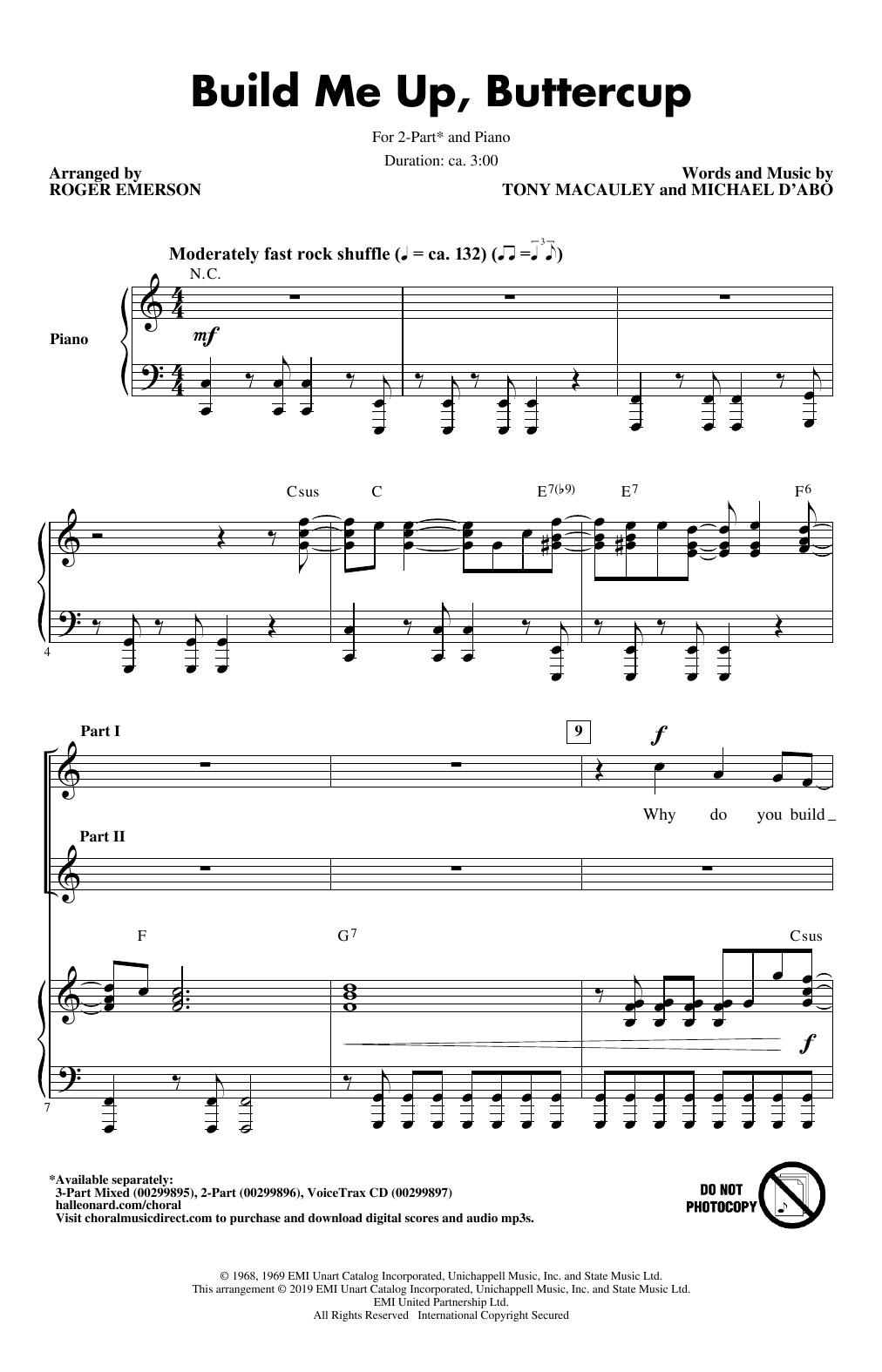 Build Me Up, Buttercup (arr. Roger Emerson) (2-Part Choir)