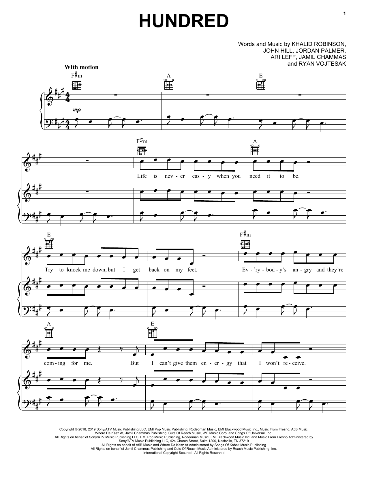Hundred (Piano, Vocal & Guitar (Right-Hand Melody))