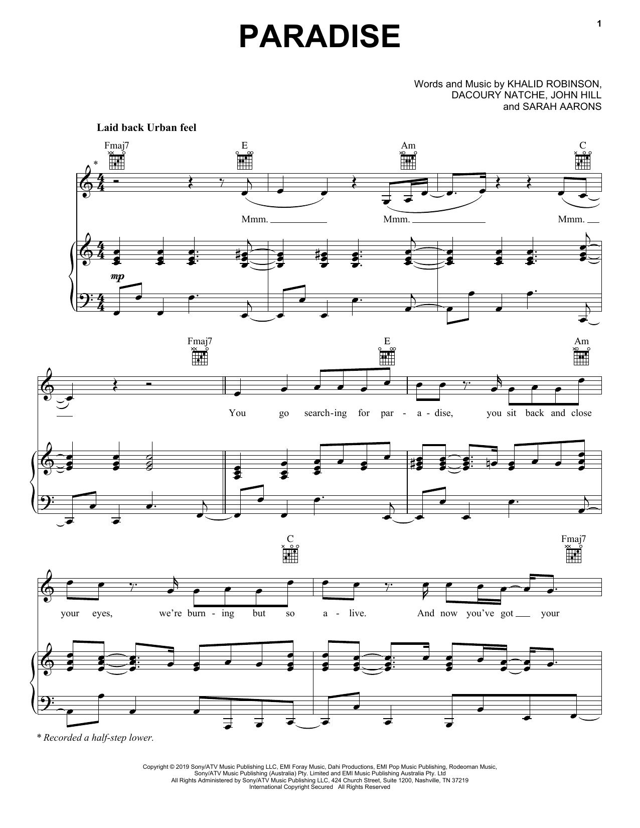 Paradise (Piano, Vocal & Guitar (Right-Hand Melody))