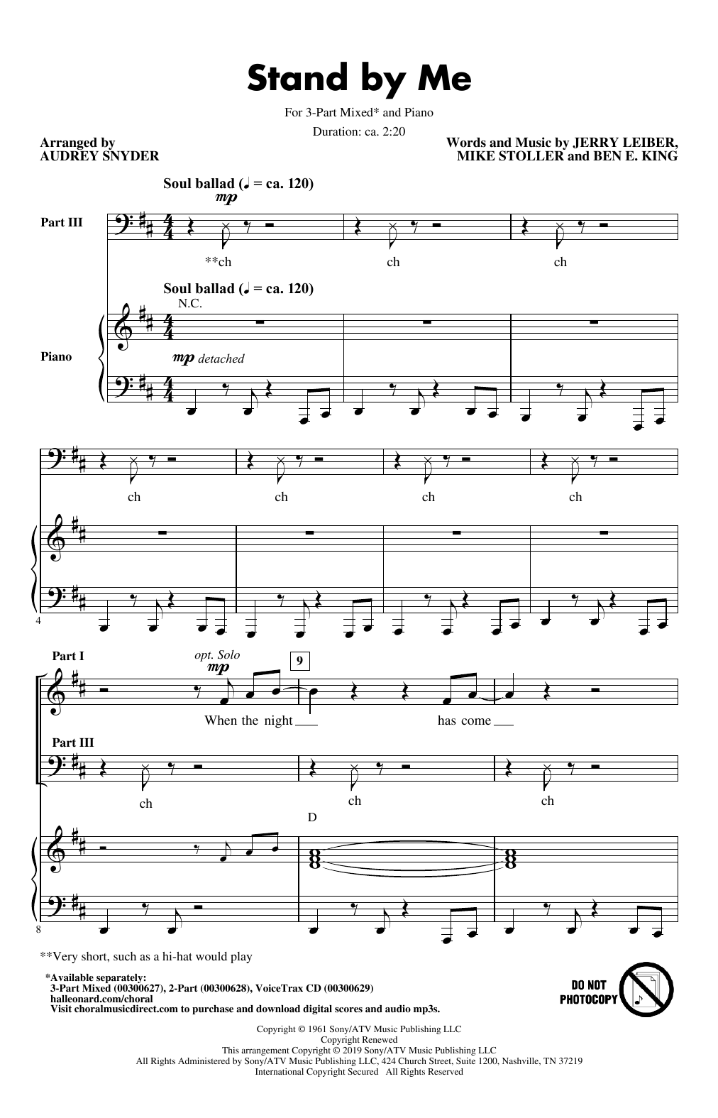 Stand By Me (arr. Audrey Snyder) Sheet Music