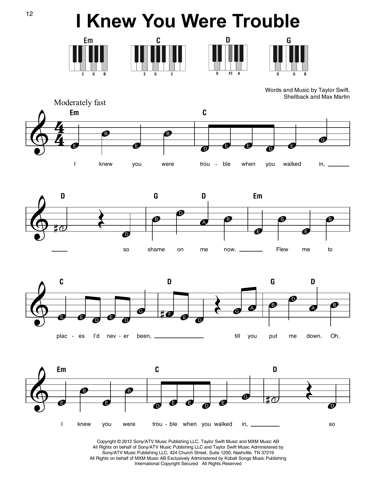 I Knew You Were Trouble (Super Easy Piano)