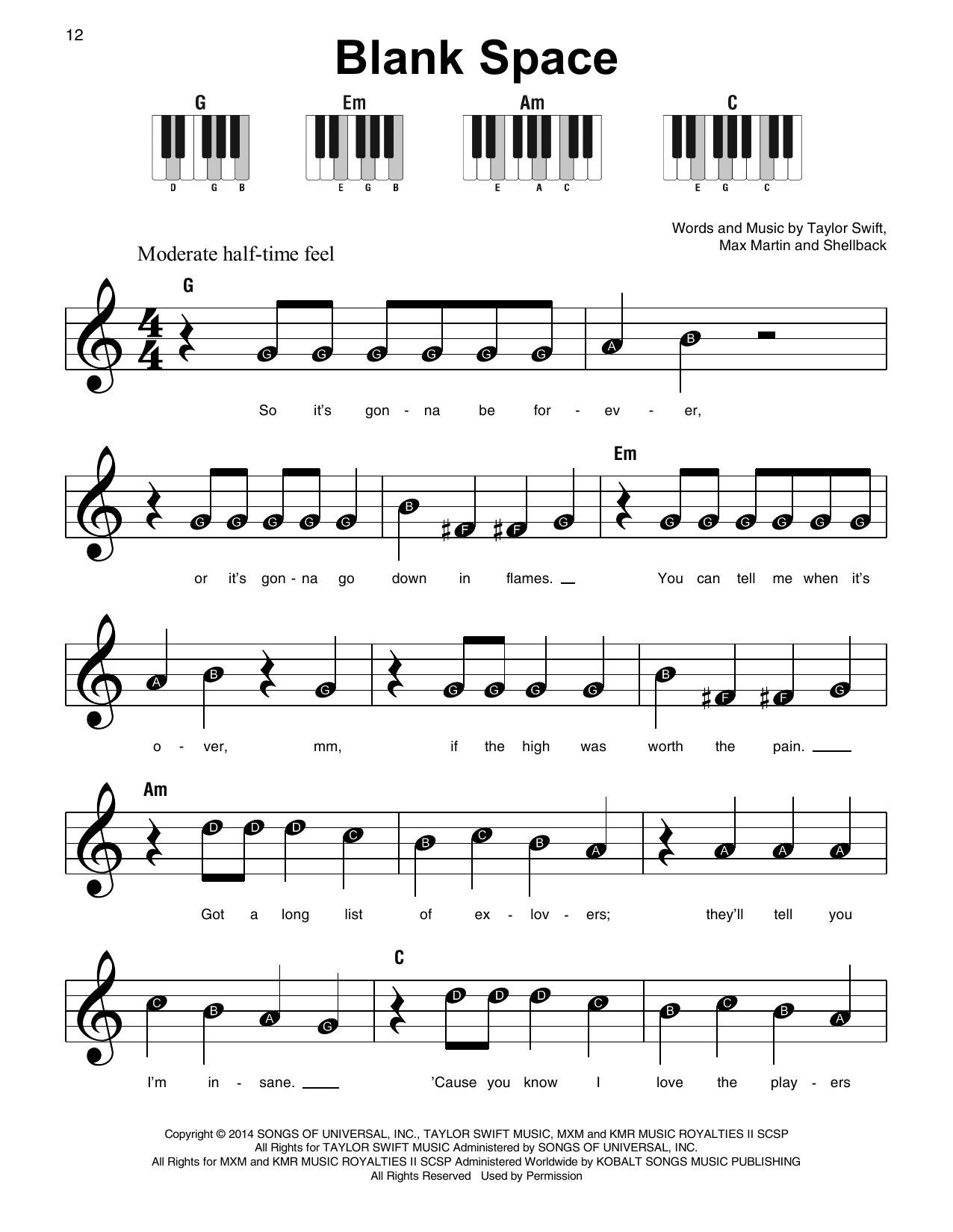 Blank Space Sheet Music
