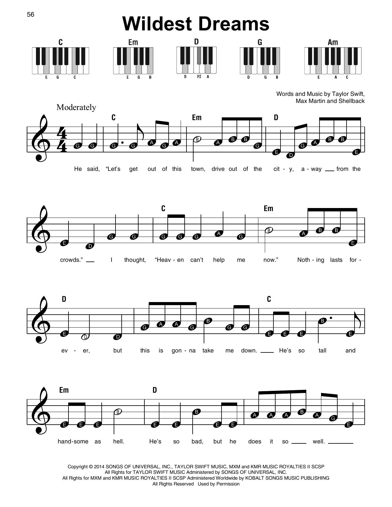 Wildest Dreams (Super Easy Piano)