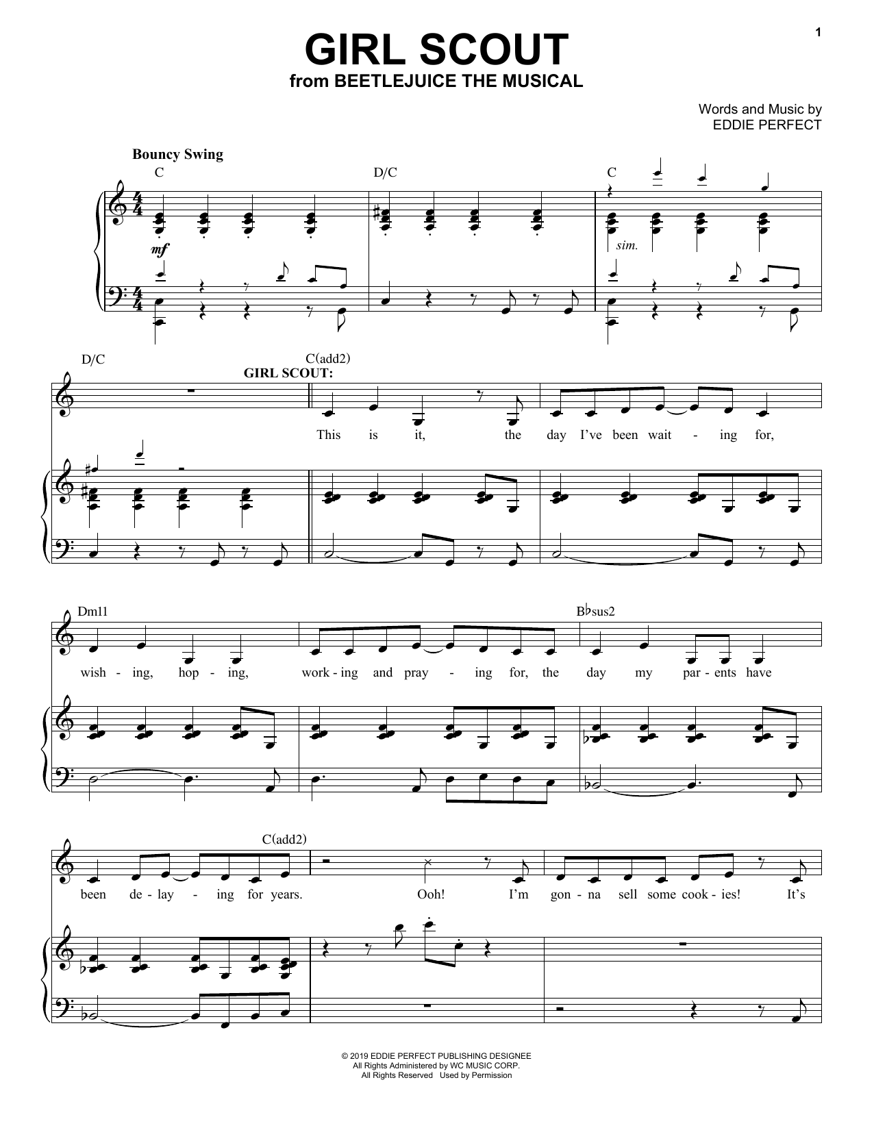 Eddie Perfect Girl Scout From Beetlejuice The Musical Sheet Music
