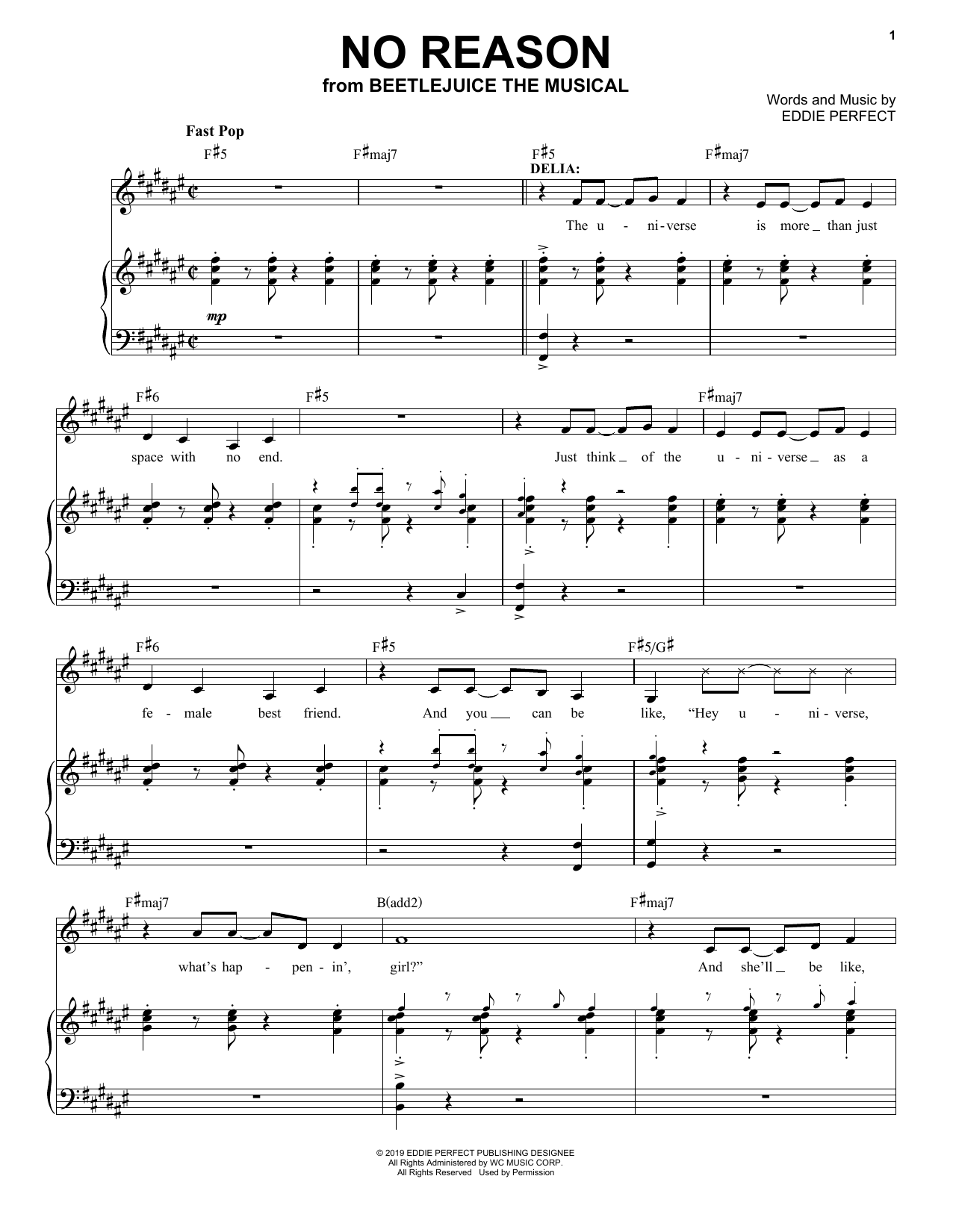 Eddie Perfect No Reason From Beetlejuice The Musical Sheet Music