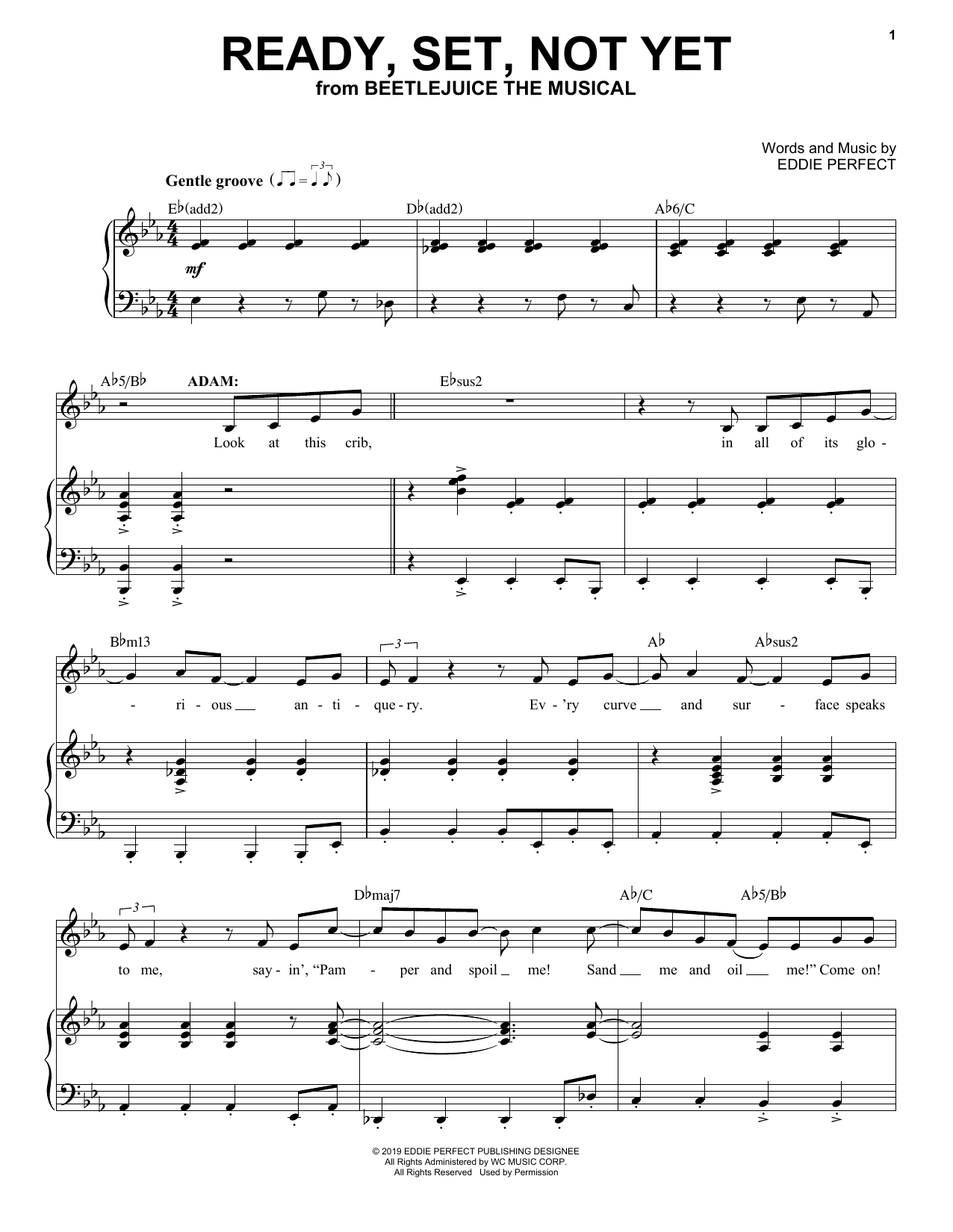 Ready Set Not Yet From Beetlejuice The Musical Sheet Music Eddie Perfect Piano Vocal